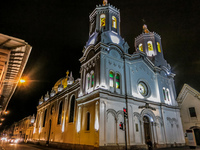 Cuenca Church at night San Blas,  Cuenca,  Azuay,  Ecuador, South America