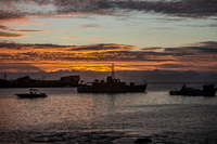 Harbour in Puerto Baquerizo Moreno when sunset Baquerizo Moreno, El Progreso, El Junco, Puerto China, Galapagos, Ecuador, South America