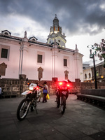 quito police bike near plaza grande Quito, Pichincha province, Ecuador, South America